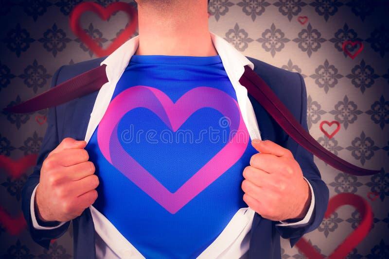 Imagem composta do homem de negócios que abre seu estilo do super-herói da camisa fotografia de stock