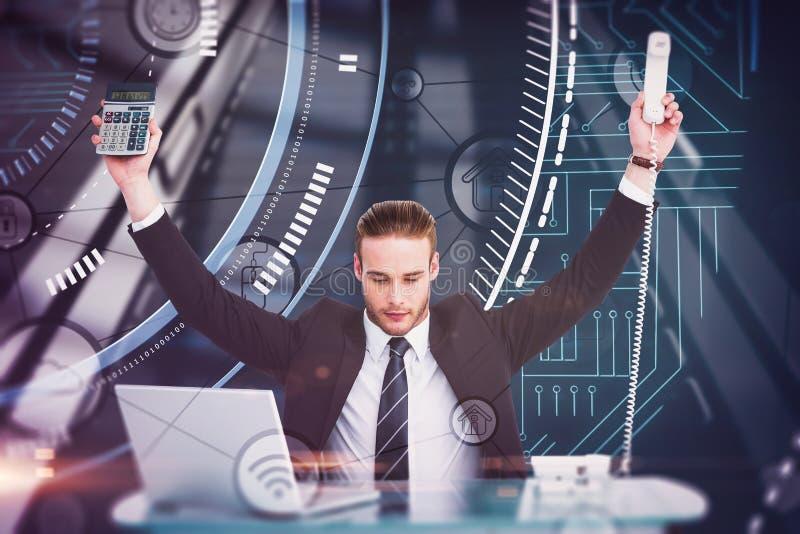 Imagem composta do homem de negócios que cheering que guarda a calculadora e o telefone fotografia de stock