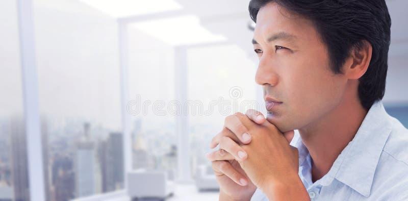 Imagem composta do homem de pensamento com mãos junto imagens de stock royalty free