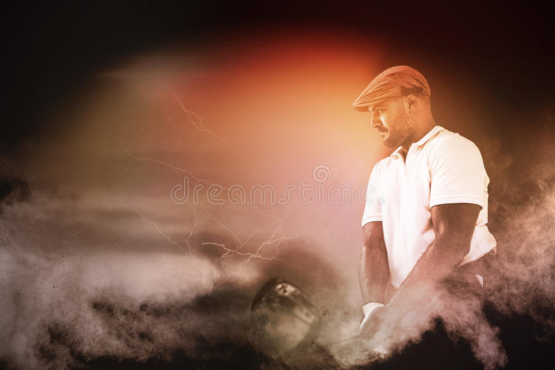 Imagem composta do jogador de golfe que toma um tiro imagem de stock royalty free