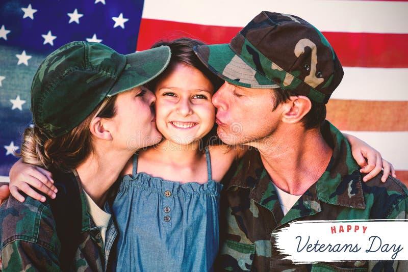 Imagem composta do logotipo para o dia de veteranos em América ilustração royalty free