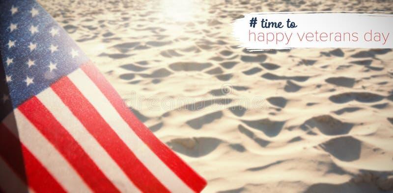 Imagem composta do logotipo para o dia de veteranos no hashtag de América fotografia de stock royalty free
