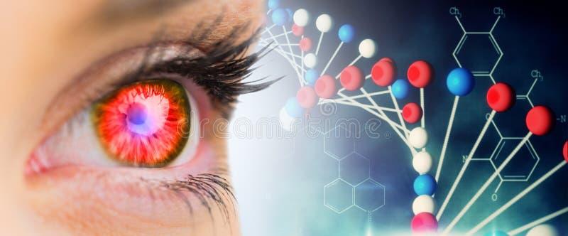 Imagem composta do olho de incandescência vermelho que anticipa imagens de stock royalty free
