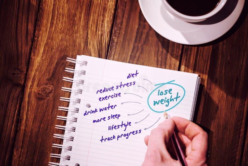 Imagem composta do plano da dieta ilustração royalty free