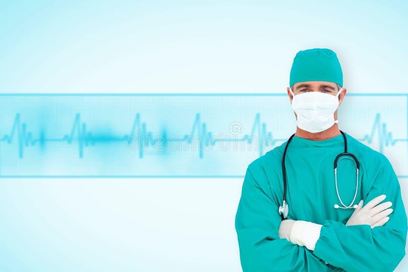 Imagem composta do retrato de um cirurgião ambicioso foto de stock