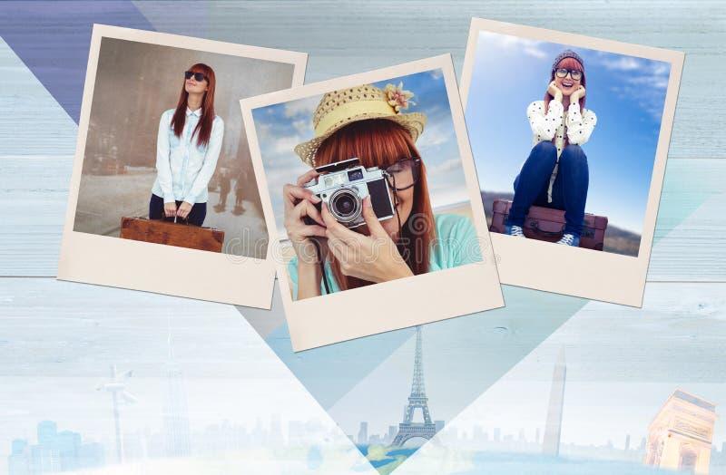 Imagem composta do retrato de uma mulher de sorriso do moderno que guarda a câmera retro fotografia de stock