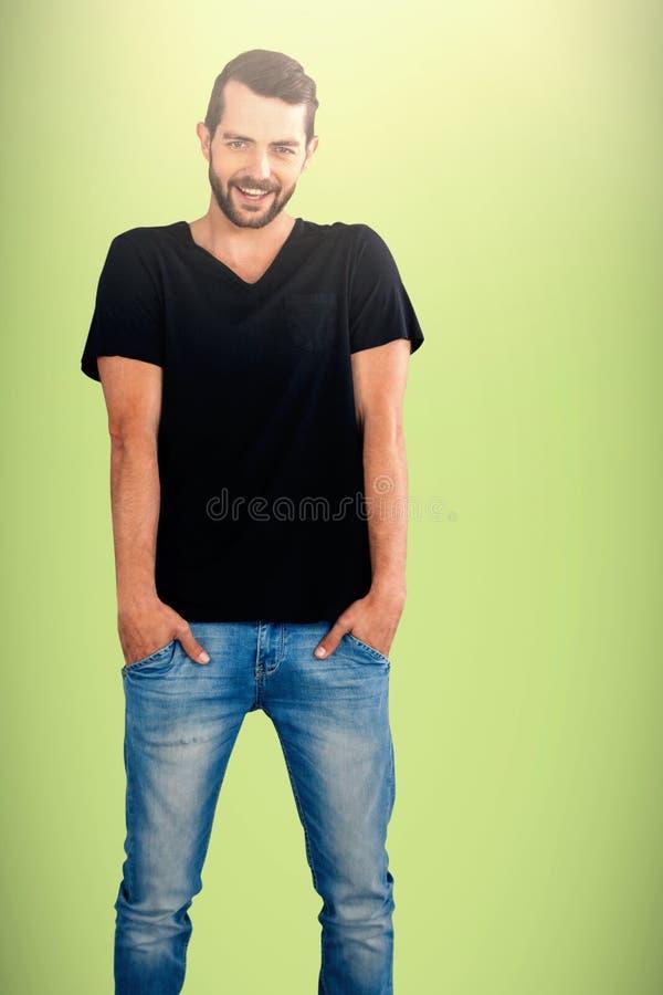 Imagem composta do retrato do homem de sorriso com mãos em uns bolsos fotos de stock