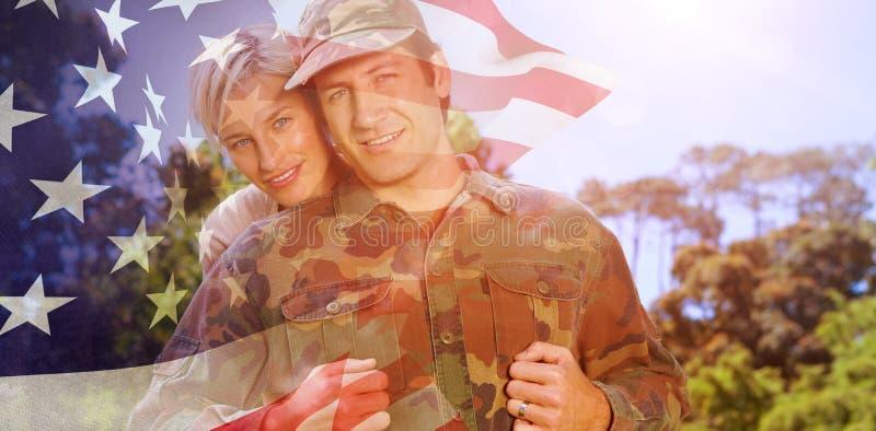 Imagem composta do retrato do homem simling do exército com esposa ilustração do vetor