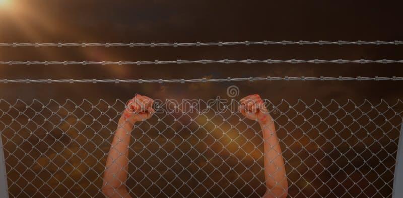 Imagem composta do retrato do meta alegre do cruzamento do atleta do vencedor imagens de stock royalty free