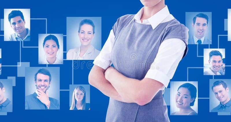 Imagem composta do retrato dos braços eretos da mulher de negócios séria cruzados imagem de stock royalty free