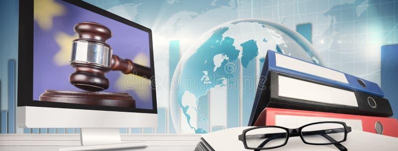 Imagem composta do tela de computador imagens de stock