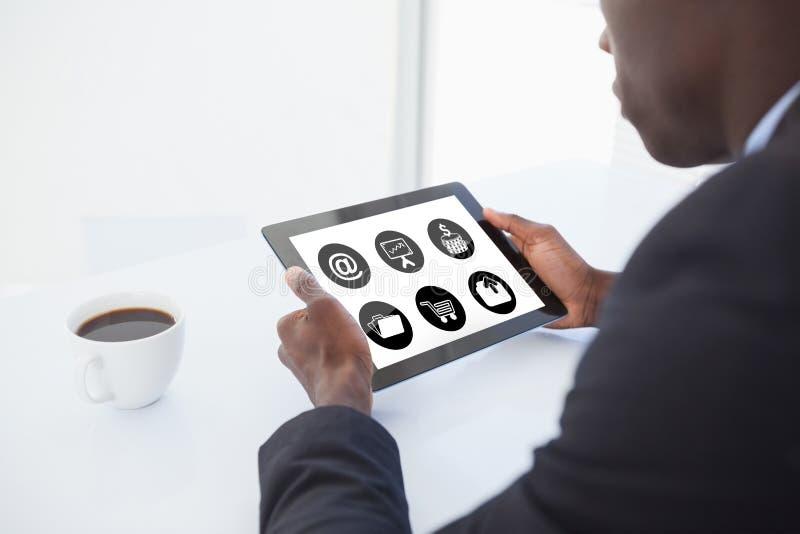 Imagem composta do telefone com ícone dos apps imagem de stock royalty free
