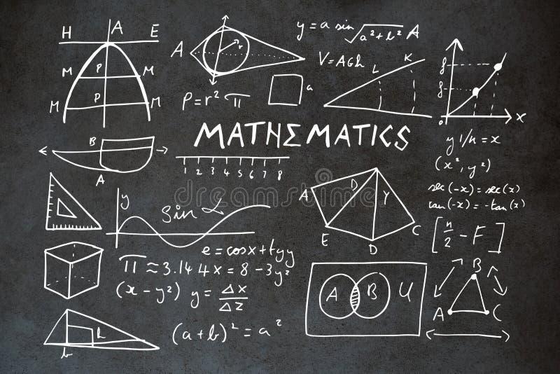 Imagem composta do texto da matemática com formas geométricas ilustração stock