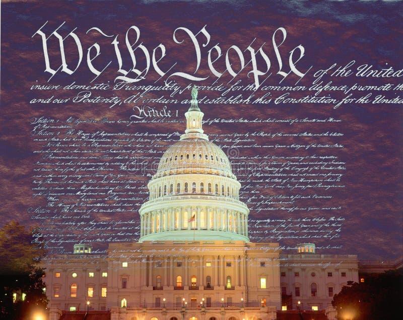 Imagem composta do U S Capitólio e o U S constitution imagem de stock