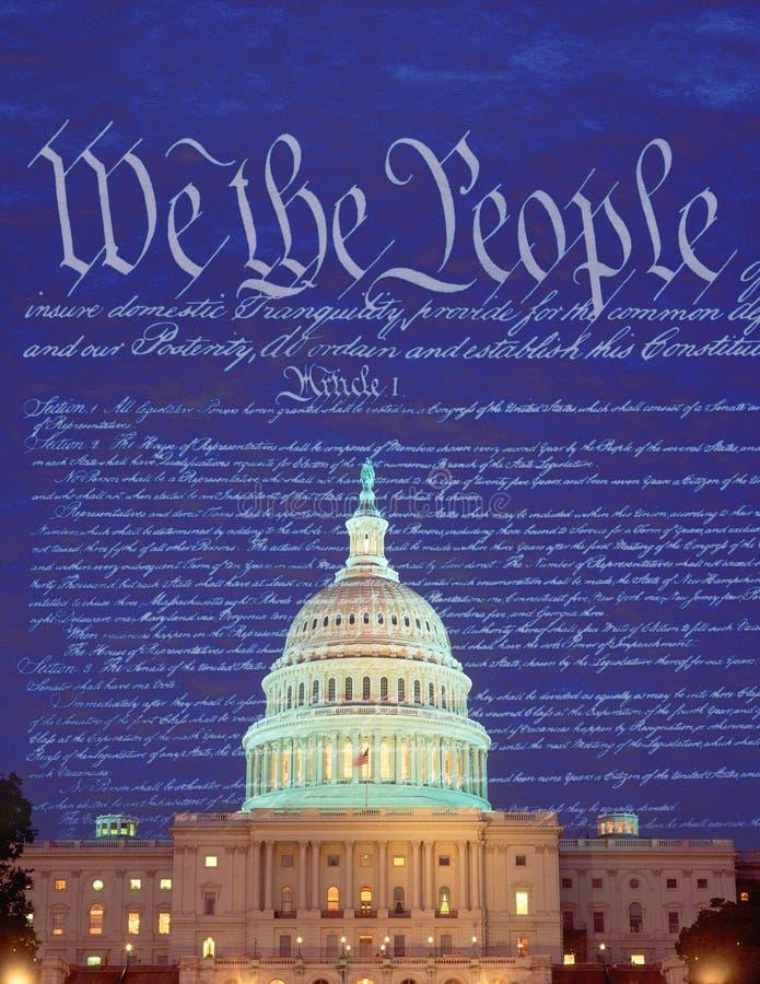 Imagem composta do U S Capitólio e o U S constitution foto de stock royalty free
