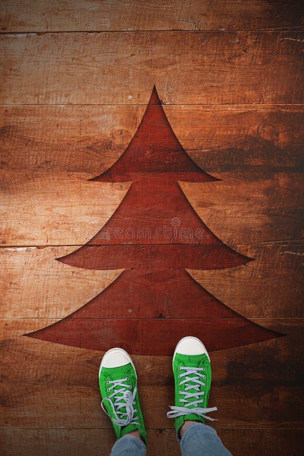 Imagem composta dos calçados casuais foto de stock