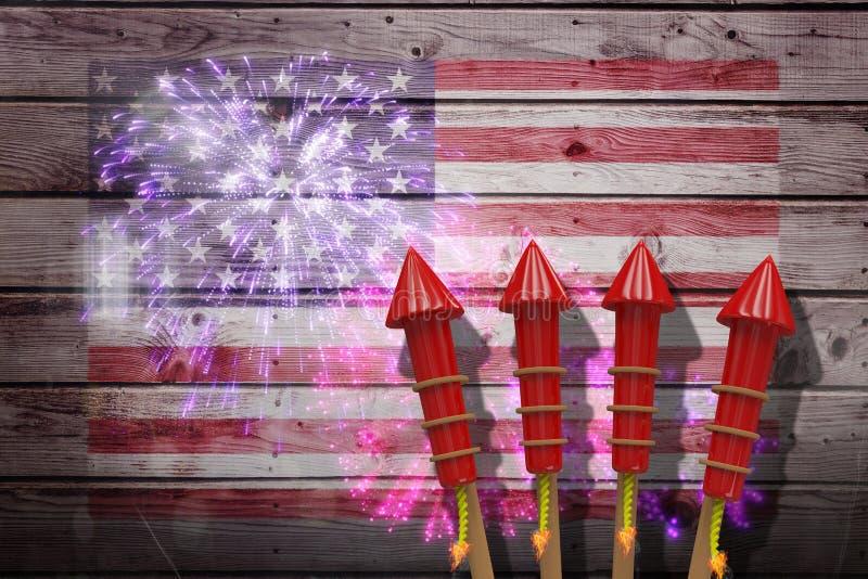 Imagem composta dos foguetes 3D para fogos-de-artifício imagem de stock