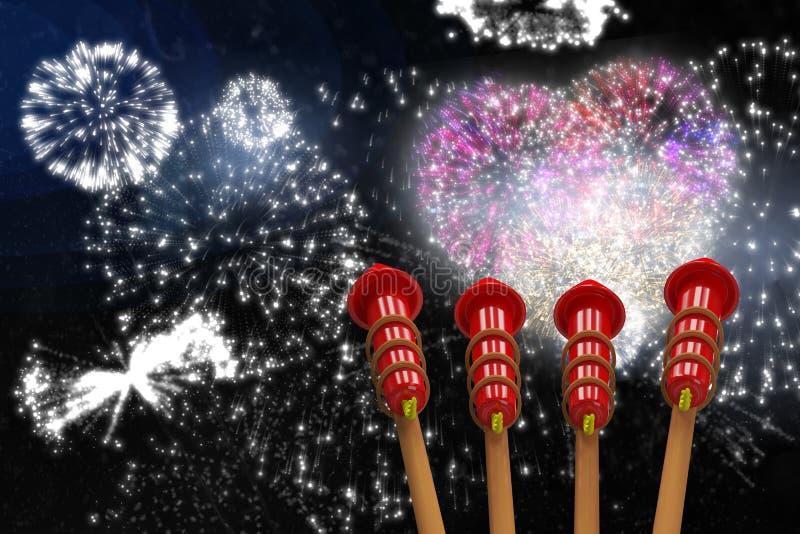 Imagem composta dos foguetes para fogos-de-artifício ilustração do vetor