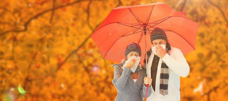Imagem composta dos pares maduros que fundem seus narizes sob o guarda-chuva imagem de stock royalty free
