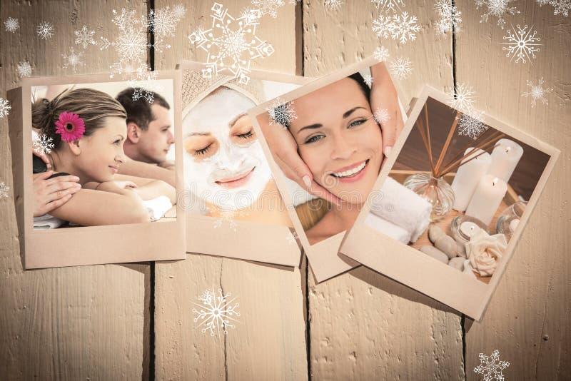 Imagem composta dos pares novos alegres que apreciam um tratamento dos termas foto de stock royalty free