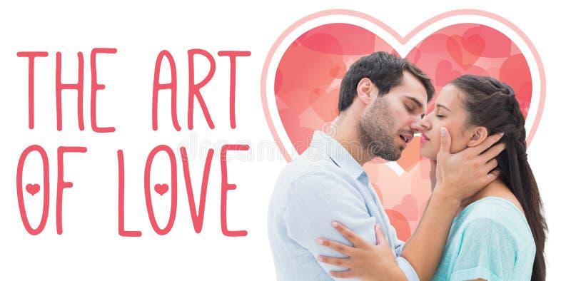 Imagem composta dos pares novos atrativos aproximadamente a beijar ilustração royalty free