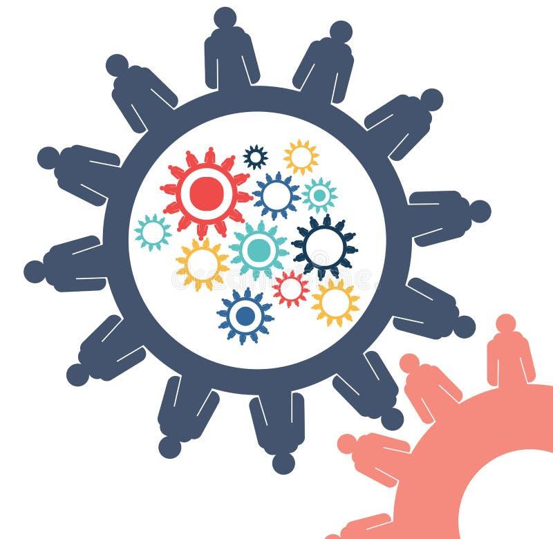 A imagem conceptual abstrata do negócio alinha o molde criativo dos trabalhos de equipa da conexão da roda denteada com espaço co ilustração stock