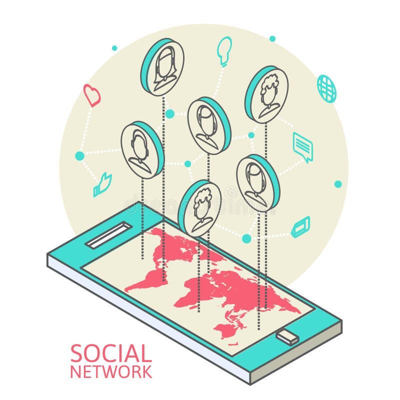 Imagem conceptual com redes sociais liso ilustração royalty free