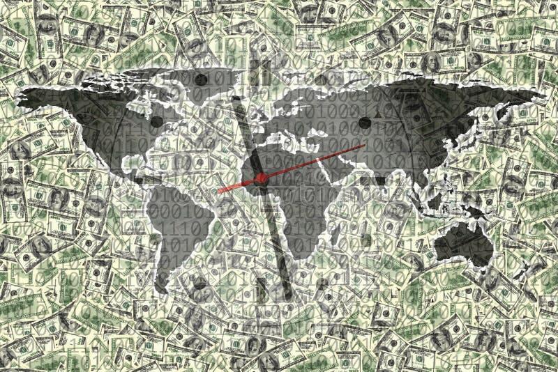 Imagem conceptual da finança do mapa do mundo e da face do relógio sobre americ ilustração stock