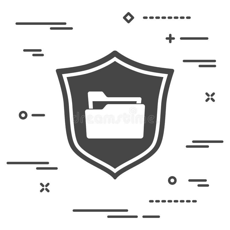 imagem conceptual da proteção de dados privada nos dobradores no pers ilustração stock