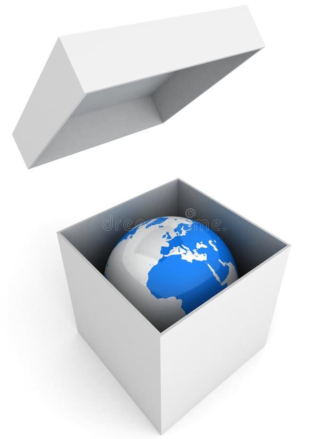 Imagem conceptual da terra do planeta na caixa branca ilustração royalty free