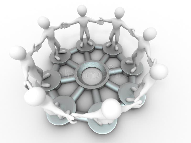 Imagem conceptual das comunicações ou de trabalhos de equipa. ilustração do vetor