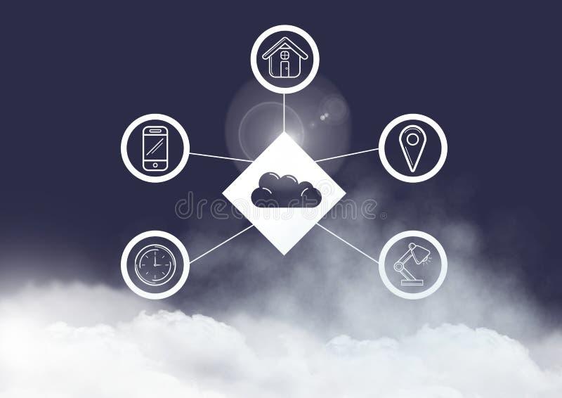 Imagem conceptual de ícones de conexão digitalmente gerados ilustração stock
