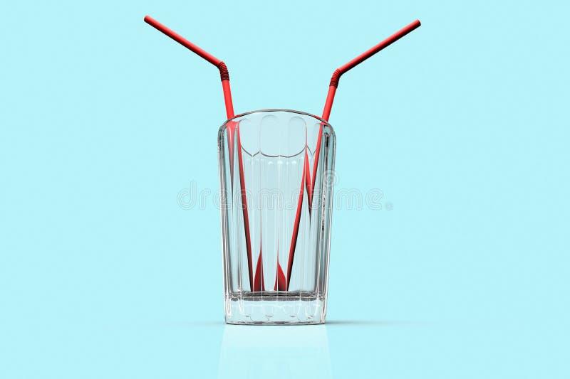 Imagem conceptual de um vidro com duas palhas ilustração royalty free