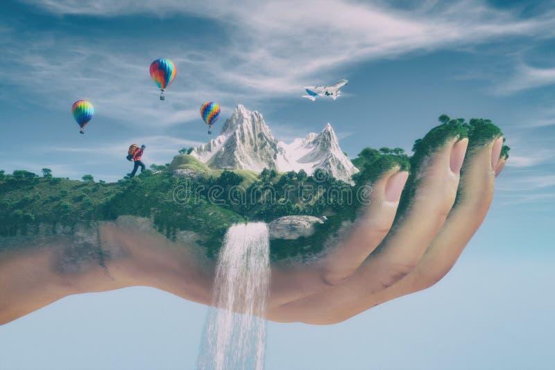 Imagem conceptual de uma paisagem da montanha ilustração royalty free