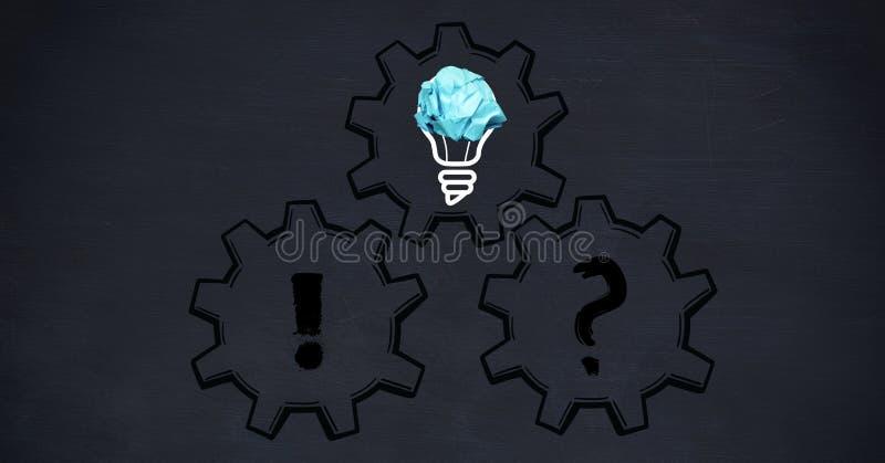 Imagem conceptual do bulbo com ícone amarrotado do papel e da engrenagem ilustração royalty free