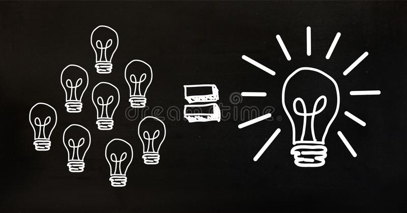 Imagem conceptual que mostra a eficiência de poder a ampola ilustração royalty free