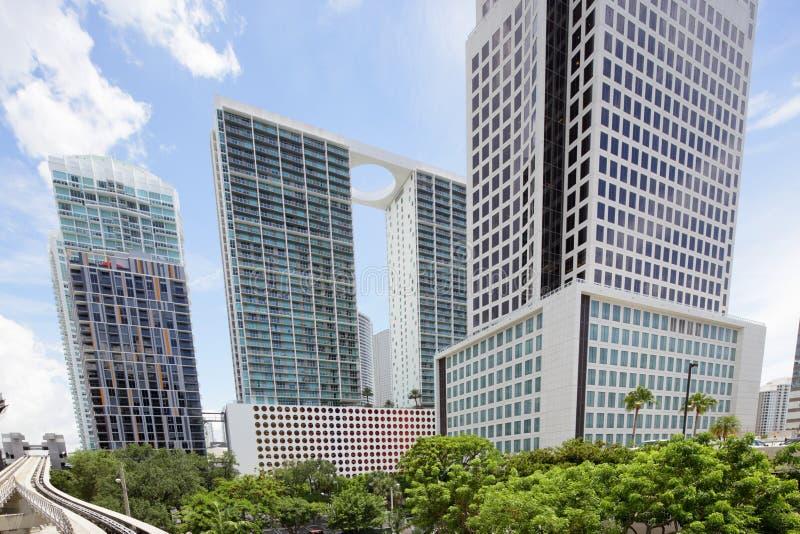 Imagem conservada em estoque das construções de Brickell Miami fotos de stock