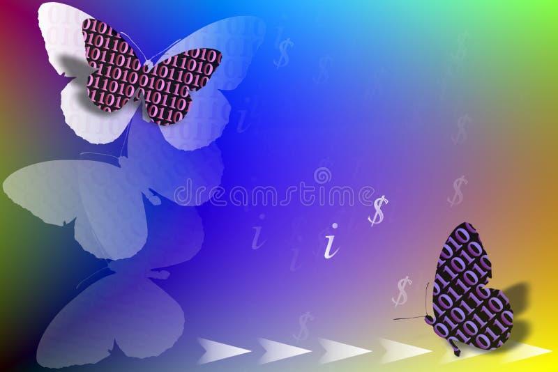 Imagem conservada em estoque de borboletas do código binário como ELA conceito ilustração do vetor