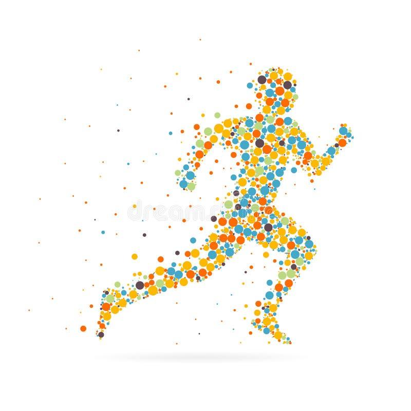 Imagem criativa abstrata do vetor do conceito de homem running para a Web e aplicações móveis isolado no fundo, arte imagem de stock royalty free