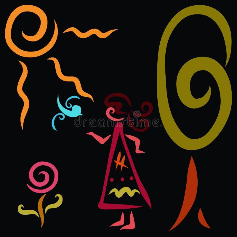 Imagem criativa de uma menina e de uma natureza ilustração do vetor