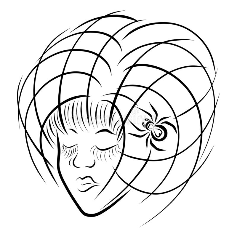 Imagem criativa, menina com um penteado sob a forma de uma Web com ilustração do vetor