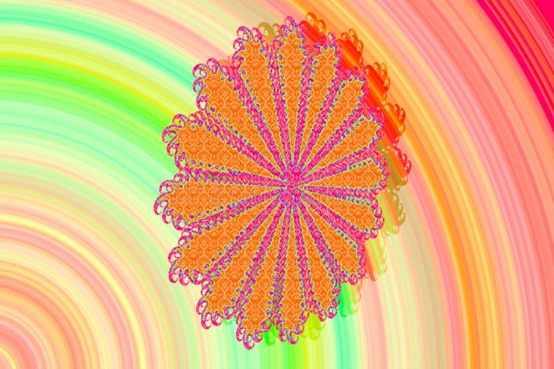 Imagem 3D abstrata com um fundo colorido de elementos modelados coloridos do fractal sob a forma de uma flor p à moda moderno da  ilustração stock