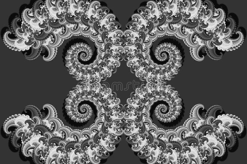 Imagem 3D abstrata com um volume em um fundo cinzento de elementos modelados luxuosos do fractal, screensaver à moda moderno da f ilustração stock