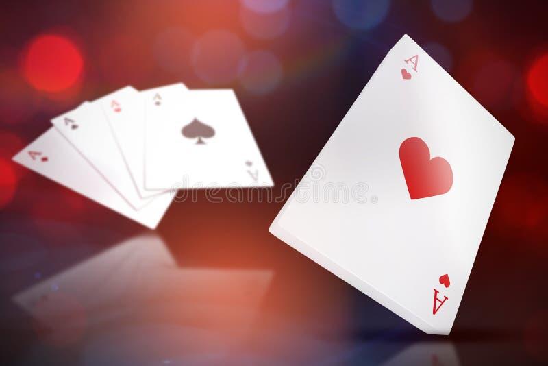 Imagem 3d composta de cartões de jogo com o ás de corações na parte superior ilustração do vetor
