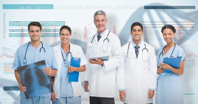 imagem 3D composta do retrato da equipa médica segura fotografia de stock