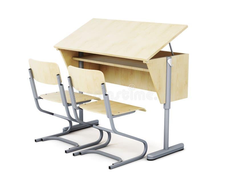 imagem 3d de mesas e de cadeiras da escola no fundo branco ilustração royalty free