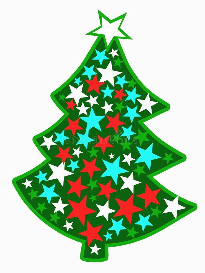 A imagem da árvore de Natal brilhante com estrelas foto de stock