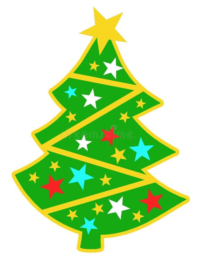A imagem da árvore de Natal brilhante com estrelas 12 imagem de stock