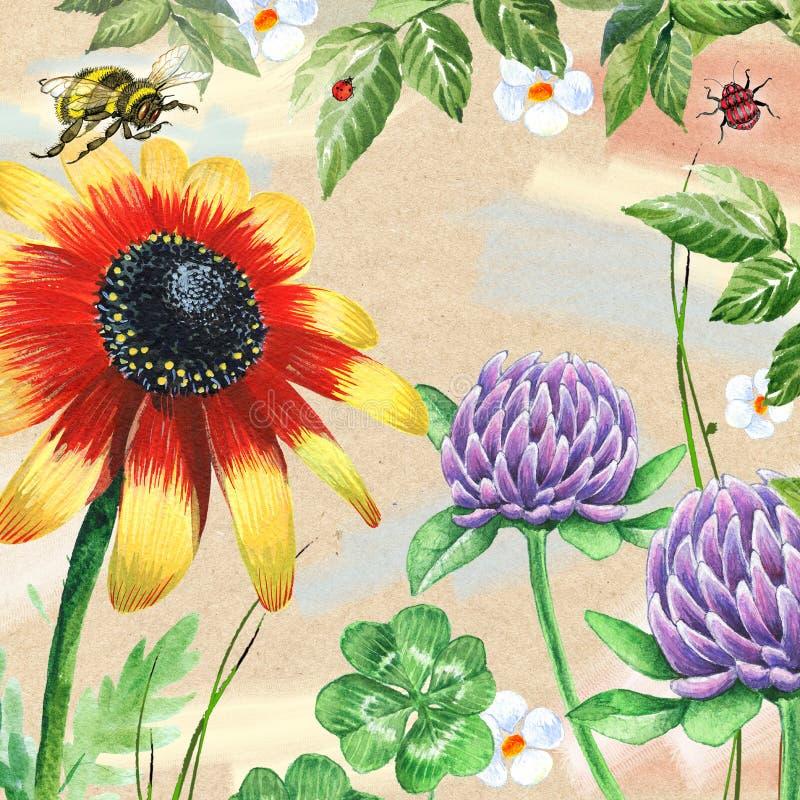 Imagem da aquarela com trevo ilustração royalty free