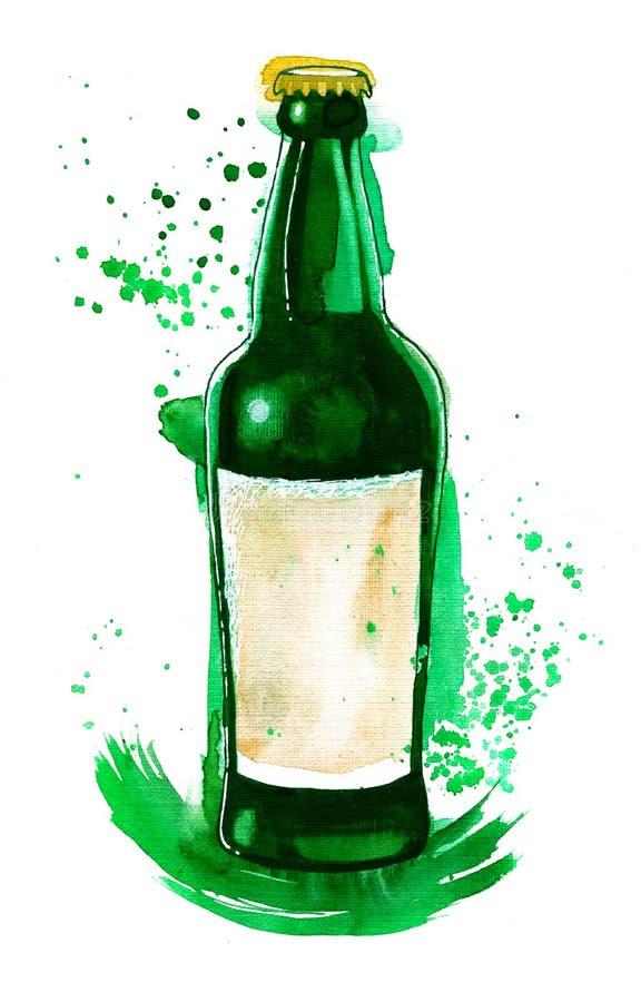 Imagem da aquarela da garrafa de cerveja verde com ilustração stock